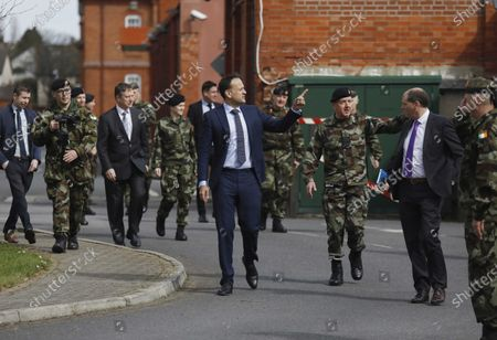 Irish Prime Minister An Taoiseach, Leo Varadkar (C) pictured with members of the Irish Defence Forces when he visited the Defence Forces Joint Task Force (JTF) in Dublin, Ireland, 06 April 2020 where they received a briefing on the role of the Defence Forces in supporting the national response to the current Covid-19 Public Health Crisis.