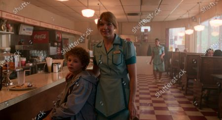 Aidan Wojtak-Hissong as Liam Novak and Kathleen Rose Perkins as Maggie Novak