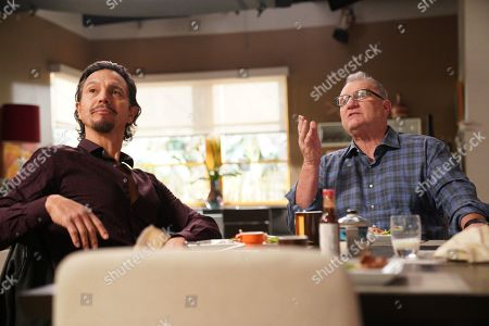Benjamin Bratt as Javier Delgado and Ed O'Neill as Jay Pritchett