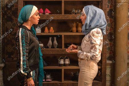 Stock Picture of Natacha Karam as Marjan Marwani and Hina Abdullah as Zara