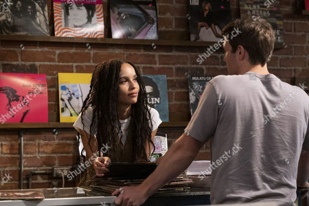 Stock Image of Zoe Kravitz as Robyn 'Rob' Brooks and Jake Lacy as Clyde