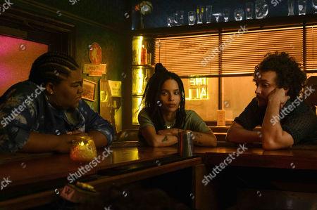 Da'Vine Joy Randolph as Cherise, Zoe Kravitz as Robyn 'Rob' Brooks and David H. Holmes as Simon Miller