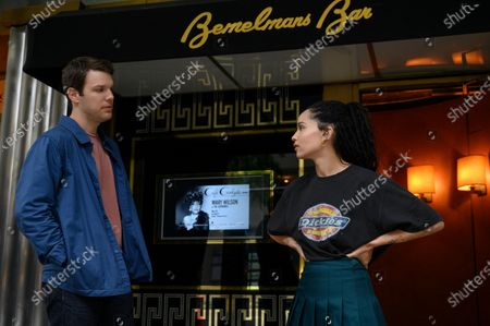Jake Lacy as Clyde and Zoe Kravitz as Robyn 'Rob' Brooks