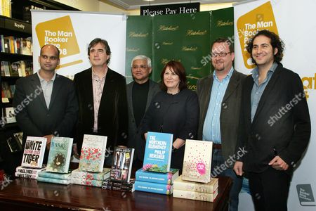 Man Booker Prize For Fiction 2008: - Shortlist L-r Aravind Adiga - The White Tiger Sebastian Barry - The Secret Scripture Amitav Ghosh - Sea Of Poppies Linda Grant - The Clothes On Their Backs Phillip Hensher - The Northern Clemency Steve Toltz - A Fraction Of The Whole Picture By Glenn Copus