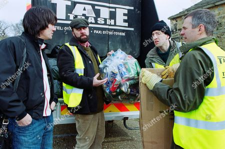 Stock Picture of Ep 3165 Friday 26th April 2002 While working for Tate Trash, the Dingles take an interest in paper recycling. With Cain Dingle, as played by Jeff Hordley ; Zak Dingle, as played by Steve Halliwell ; Sam Dingle, as played by James Hooton ; Phil Weston, as played by Mark Jardine.