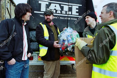 Ep 3165 Friday 26th April 2002 While working for Tate Trash, the Dingles take an interest in paper recycling. With Cain Dingle, as played by Jeff Hordley ; Zak Dingle, as played by Steve Halliwell ; Sam Dingle, as played by James Hooton ; Phil Weston, as played by Mark Jardine.