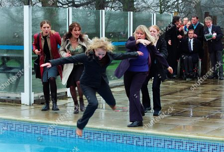 Ep 3148 Thursday 4th April 2002 Nicola uses the arrival of a group of travel agents to the holiday village a day early, to trick Maggie. Realising that she has been taken for a ride, Maggie sees red and attacks Nicola, pushing her into the village swimming pool. With Nicola Blackstock, as played by Nicola Wheeler ; Rodney Blackstock, as played by Patrick Mower ; Maggie Calder, as played by Dee Whitehead; Jess Weston, as played by Ruth Abram; Anne Marie Weston, as played by Tanya Myers ; Christopher Tate, as played by Peter Amory and others.