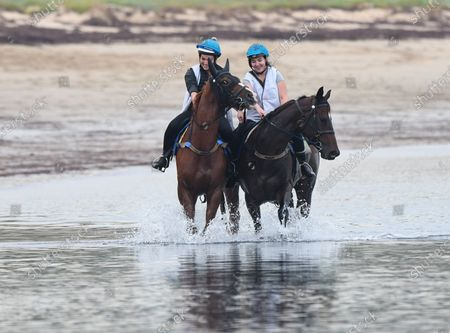 Horses from John McArdle racing stables in action during a trackwork session at Balnarring Beach in Balnarring, Australia, 10 April 2020.