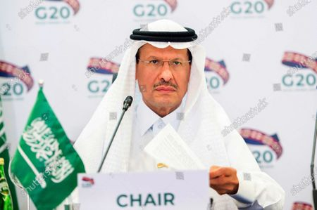 In this photo released by Saudi Energy Ministry, Prince Abdulaziz bin Salman Al-Saud, Minister of Energy of Saudi Arabia, chairs a virtual summit of the Group of 20 energy ministers at his office in Riyadh, Saudi Arabia, to coordinate a response to plummeting oil prices due to an oversupply in the market and a downturn in global demand due to the pandemic