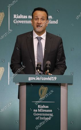 Irish Prime Minister An Taoiseach Leo Varadkar briefing media on the recommendations of the National Public Health Emergency Team on measures to curb the spread of COVID-19, at the  Government Buildings in Dublin, Ireland, 10 April 2020. Current movement restrictions will be extended until 05 May in efforts to stem the spread of the SARS-CoV-2 coronavirus which causes the Covid-19 disease.