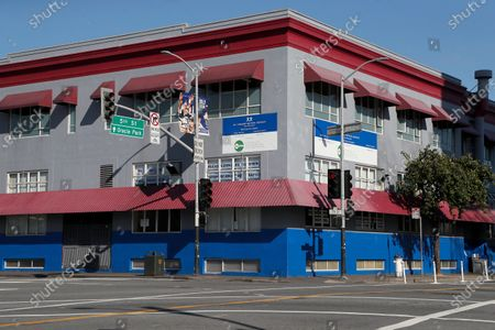An exterior view of the St. Vincent De Paul Society Multi-Service Center South (MSC South) homeless shelter in San Francisco, California, USA, 10 April 2020. San Francisco Mayor London Breed confirmed an outbreak of 70 new positive coronavirus cases at its largest homeless shelter, MSC South. Sixty-eight homeless individuals and two staff members at the shelter tested positive. The shelter has a 340-bed capacity and is being transitioned from a homeless shelter to a medical care facility.