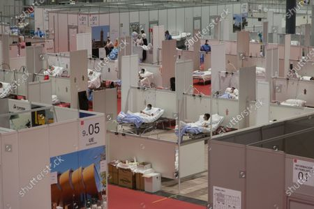 The interior of the IFEMA Field Hospital in Madrid, with dozens of Covid-19 patients.