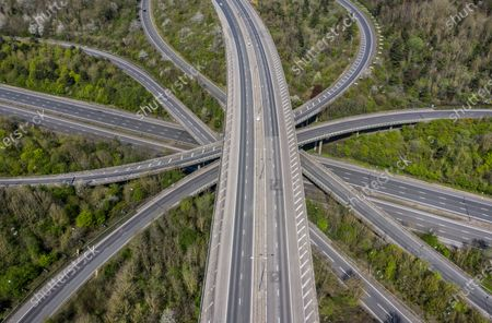 Good Friday traffic on the M25/M23 junction is non-existent at 1pm. The government has warned that people must continue to follow the public health guidance over the Easter weekend