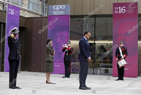 Irish Prime Minister, An Taoiseach Leo Varadkar taking part in the the Annual 1916 Easter Commemoration in the GPO, which because of the Covid-19 Virus was held inside the building, in Dublin, Ireland, 12 April 2020.