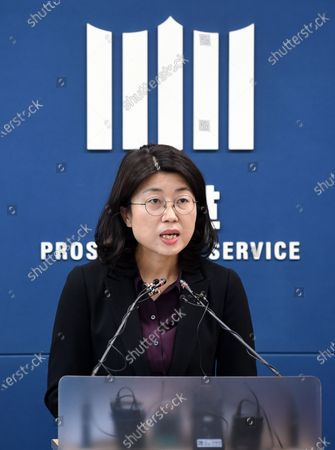 Yoo Hyun-jung, chief of a task force investigating a high-profile digital sexual exploitation ring, holds a press conference at the Seoul High Prosecutors Office on April 13, 2020. The prosecution indicted the ring's leader Cho Ju-bin for allegedly producing and distributing sexual exploitation materials online for profit.
