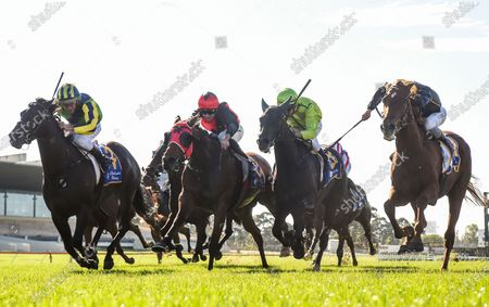 Jockey Damien Oliver rides Clementina to victory in race 4, the Clanbrooke Racing Handicap, during Easter Monday races at Sandown Racecourse in Melbourne, Australia, 13 April 2020.