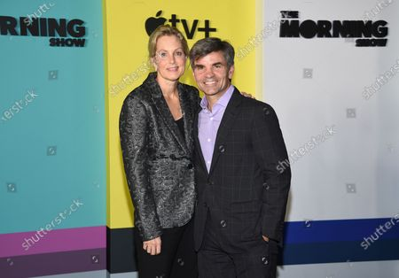 """Ali Wentworth, left, and her husband George Stephanopoulos attend the world premiere of Apple TV+'s """"The Morning Show"""" in New York. Stephanopoulos says he has tested positive for the coronavirus, but is relatively symptom-free. He said on Monday's """"Good Morning America"""" show that other than a brief backache and diminished sense of smell, he's been feeling fine. His wife, journalist Ali Wentworth, has the disease and has said she's never felt sicker. Stephanopoulos made the announcement on the show Monday"""