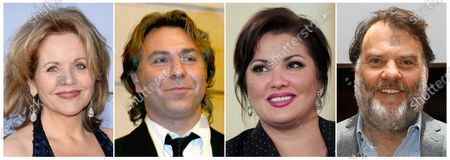 This combination photo shows opera singers, from left, Renée Fleming, French tenor Roberto Alagna, Russian Soprano Anna Netrebko and Welsh bass-baritone Bryn Terfel, who are among 38 opera stars in 13 nations scheduled for the Metropolitan Opera's At-Home gala, which will be streamed live on April 25 starting at 1 p.m. EDT
