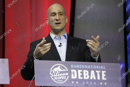 Real-estate executive Thomas Wright speaks during a debate for Utah's 2020 gubernatorial race, in Salt Lake City. Former U.S. ambassador to Russia Jon Huntsman Jr. qualified for the Republican primary ballot, joining Lt. Gov. Spencer Cox and Wright