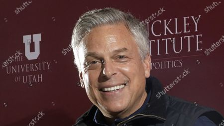 Republican ex-Russia ambassador Jon Huntsman Jr. speaks at the Hinckley Institute of Politics, in Salt Lake City. Huntsman qualified for the Republican primary ballot on Monday, April, 13, 2020, joining Lt. Gov. Spencer Cox and ex-GOP chair Thomas Wright