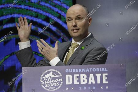 Utah Lt. Gov. Spencer Cox speaks during a debate for Utah's 2020 gubernatorial race, in Salt Lake City. Former U.S. ambassador to Russia Jon Huntsman Jr. qualified for the Republican primary ballot on Monday, joining Cox and ex-GOP chair Thomas Wright