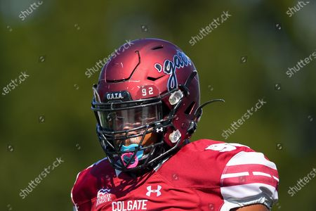 Colgate Raiders defensive lineman Nick Wheeler #92 looks on prior to an NCAA football game against the Maine Black Bears on Saturday, Sept., 21, at Andy Kerr Stadium in Hamilton, New York. Maine won 35-21