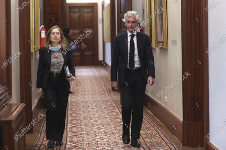 Stock Photo of MPs of the conservative Popular Party (PP) Adolfo Suarez Illana (R) and Ana Pastor (L) arrive to attend a meeting of the Board of Spain's Congress of Deputies (lower house of Parliament) in Madrid, Spain, 14 April 2020. Spain faces its fifth week of lockdown in a bid to slow down the spread of the pandemic COVID-19 disease caused by the SARS-CoV-2 coronavirus.