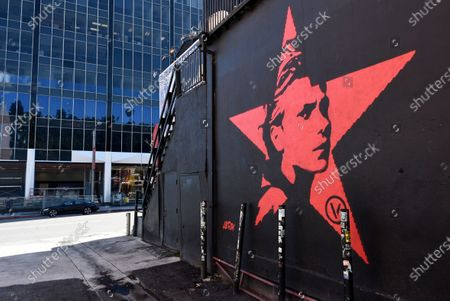 Stock Photo of Mural featuring the late actor River Phoenix is featured on an outside wall of The Roxy nightclub, in West Hollywood, Calif