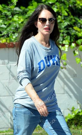Stock Photo of Madeleine Stowe goes for a walk in Pacific Palisades.