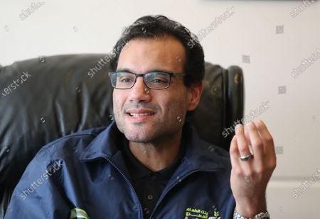 Mohsen Sarhan, the CEO of a charity affiliated with the Egyptian Food Bank, speaks to media in New Cairo, Egypt, 15 April 2020 (issued 16 April 2020). According to local sources, around 250 people, mainly day workers who have lost their jobs due to the ongoing pandemic of the COVID-19 disease caused by the SARS-CoV-2 coronavirus, come to collect the Egytpian Food Bank's food aid every day. A single box can help feed a family of four for up to two weeks.
