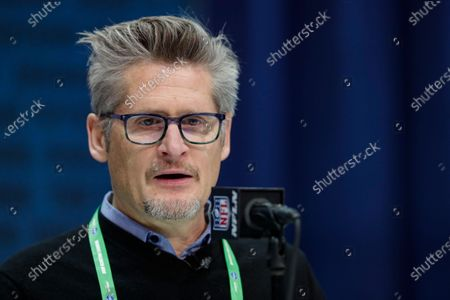 Atlanta Falcons general manager Thomas Dimitroff speaks during a press conference at the NFL football scouting combine in Indianapolis. Dimitroff will be operating his 13th NFL draft as the Atlanta Falcons' general manager from the solitude of his home, following the mandate placed on each team by commissioner Roger Goodell. Dimitroff has made a trade in each of his 12 previous drafts. Don't bet against the trade-happy GM extending that streak this year