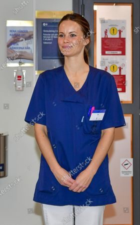 Stock Image of Princess Sofia of Sweden on her first day at work at Sophiahemmet hospital, of which she is the patron. The Princess has completed an intensive training program and will now be able to assist hospital staff with non-medical related tasks during the coronavirus pandemic, Stockholm, Sweden, April 16, 2020.