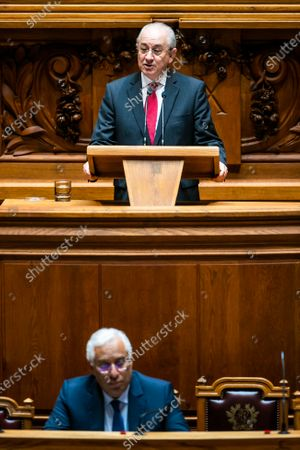PSD (main opposition party) president, Rui Rio (top), delivers a speech during the parliamentary session to dicuss the extention of the state of emergency and the approval of exceptional and temporary measures in response to covid-19 pandemic, Lisbon, Portugal, 16th April 2020.