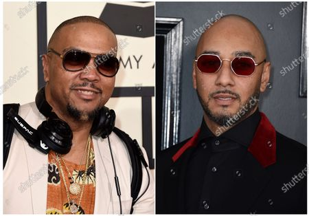 """Stock Image of This combination photo shows Timbaland at the 58th annual Grammy Awards in Los Angeles, left, and Swizz Beatz at the 61st annual Grammy Awards in Los Angeles. The producers host a competition series """"Verzuz."""" The performances are streamed by artists usually from their homes on Instagram Live, which has become one of the go-to outlets for musicians to reach their fans as many across the world are home due to the coronavirus pandemic. Timbaland and Swizz kicked off the series, followed by other notable matchups like The-Dream and Sean Garrett, Ne-Yo and Johntá Austin, Scott Storch and Mannie Fresh, as well as T-Pain and Lil Jon which drew more than 280,000 live viewers"""