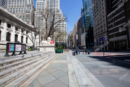 New York Public Library - Stephen A. Schwarzman Building on 5th Avenue in Manhattan during the Coronavirus Outbreak in New York