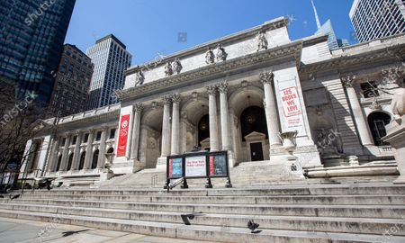 Stock Picture of New York Public Library - Stephen A. Schwarzman Building on 5th Avenue in Manhattan during the Coronavirus Outbreak in New York