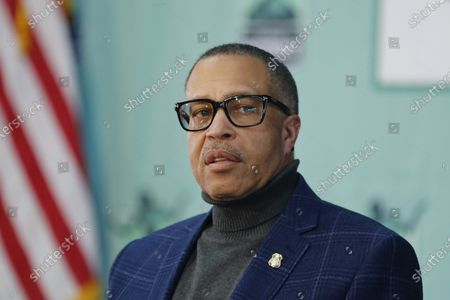 Detroit Police Chief James Craig, who was recently cleared to return to work after fighting his own COVID-19 diagnosis, addresses the media during Detroit Mayor Mike Duggan's daily press briefing on the coronavirus, in Detroit