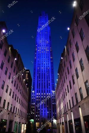 Rockefeller Center lit in blue as part of the 'Light It Blue' campaign to honor front line workers