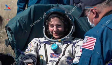In this photo made from video footage released by Roscosmos space agency U.S. astronaut Jessica Meir sits in a chair shortly after the landing of the Russian Soyuz MS-15 space capsule near the town of Dzhezkazgan, Kazakhstan, . An International Space Station crew has landed safely after more than 200 days in space. The Soyuz capsule carrying NASA astronauts Andrew Morgan, Meir and Russian space agency Roscosmos' Oleg Skripochka touched down on Friday on the steppes of Kazakhstan