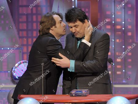 Jonathan Ross and Graham Linehan (winner of the Ronnie Barker Writers Guild of Great Britain Award)