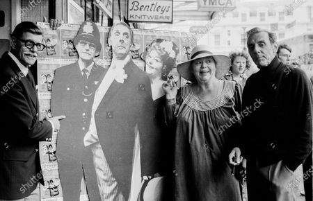 Actor Deryck Guyler, Hattie Jacques and Eric Skyes pose outside of Bournmouth Playhouse where their summer show a Hatful of Sykes was performing.