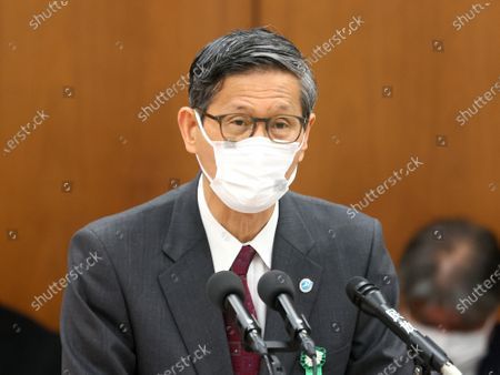 Shigeru OMI, president of Japan Committee Health Care Organization and the government's new coronavirus expert meeting member wearing a face mask answers a question at Lower House's health, labour and welfare committee session at the National Diet in Tokyo. Shinzo Abe expanded a state of emergency across Japan to prevent outbreak of the new coronavirus on April 17.