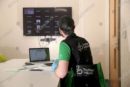 Triathlon Ireland staff managing technical aspects of the first ever 'Virtual AGM' to be held by a sporting body in Ireland today. The AGM recorded a record attendance for Triathlon Ireland, with more than 60 club delegates and board members joining remotely from their homes in a meeting that was also streamed live for the public on YouTube. Pictured today is staff member Michael Collins