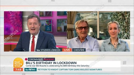 William Roache and daughter and Piers Morgan
