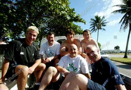 Ireland Rugby Tour 2003 Training. Paddy Wallace, Niall O'Donovan, Keith Wood, Donncha O'Callaghan, Marcus Horan and Arthur Tanner in the back of a van returning from training