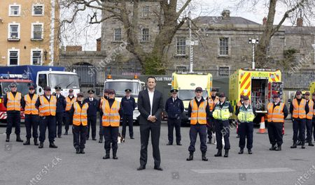 Irish Prime Minister (An Taoiseach) Leo Varadkar (C) pictured with members of the  Civil Defence in Dublin, Ireland, 20 April 2020. Varadkar received a briefing on the contribution by Volunteers to the Covid-19 response and view equipment.