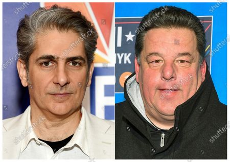 """Stock Photo of This combination photo shows actor Michael Imperioli at the NBC 2019/20 Upfront in ew York, left, and actor Steve Schirripa at the 2015 NBA All-Star Game in New York Feb. 15, 2015. Imperioli and Schirripa a new podcast about their hit TV series """"The Sopranos."""" Imperioli said fans had been watching the show during shelter-in-place orders and were hungry for podcasts. """"So Steve and I had a long talk and we thought about it and we found a way to do it remotely,"""" Imperioli said"""
