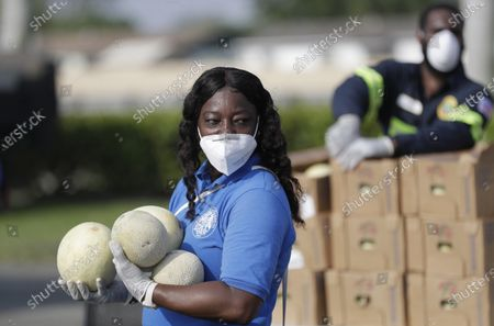 Stock Image of City employee Michelle Johnson waits for the next car to drive by to hand out melons during a food distribution event, in Miami Gardens, Fla