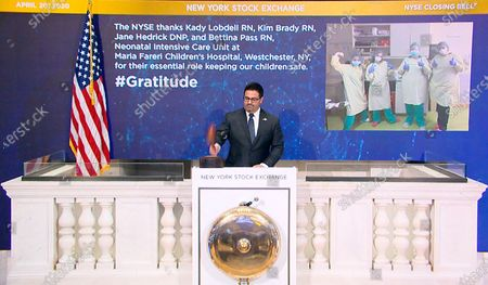 IMAGE DISTRIBUTED FOR THE NEW YORK STOCK EXCHANGE - On behalf of The New York Stock Exchange, Mark Casalinuovo, Supervisor, Facilities, rings The Closing Bell, on in New York, to thank Kady Lobdell RN, Kim Brady RN, Jane Hedrick DNP, and Bettina Pass RN, Neonatal Intensive Care Unit at Maria Fareri Children's Hospital, Westchester, NY, for their essential role keeping our children safe. The NYSE joins millions of others who stand in awe and gratitude of the way people around the world have responded to the COVID-19 crisis - from medical professionals, to workers who ensure food supply, and those who keep streets safe. They honor some of those people through their #Gratitude campaign