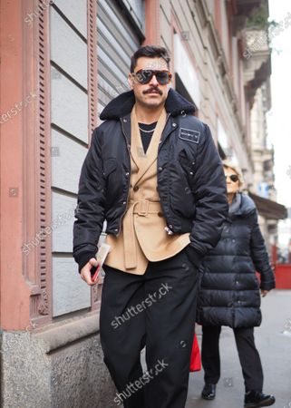 MILAN, Italy: 19 February 2020: Alex Badia  fashion blogger in the street before CALCATERRA fashion show during Milano Fashion week 2020/2021